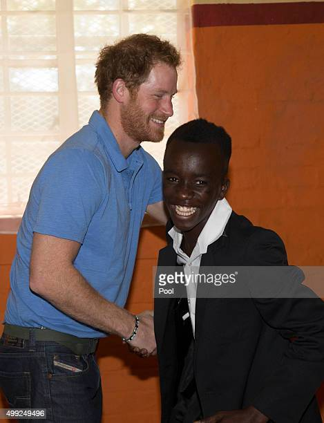 Prince Harry visits the Ottery Youth Centre a rehabilitation centre for children linked to gang related crimes during an official visit to Africa on...