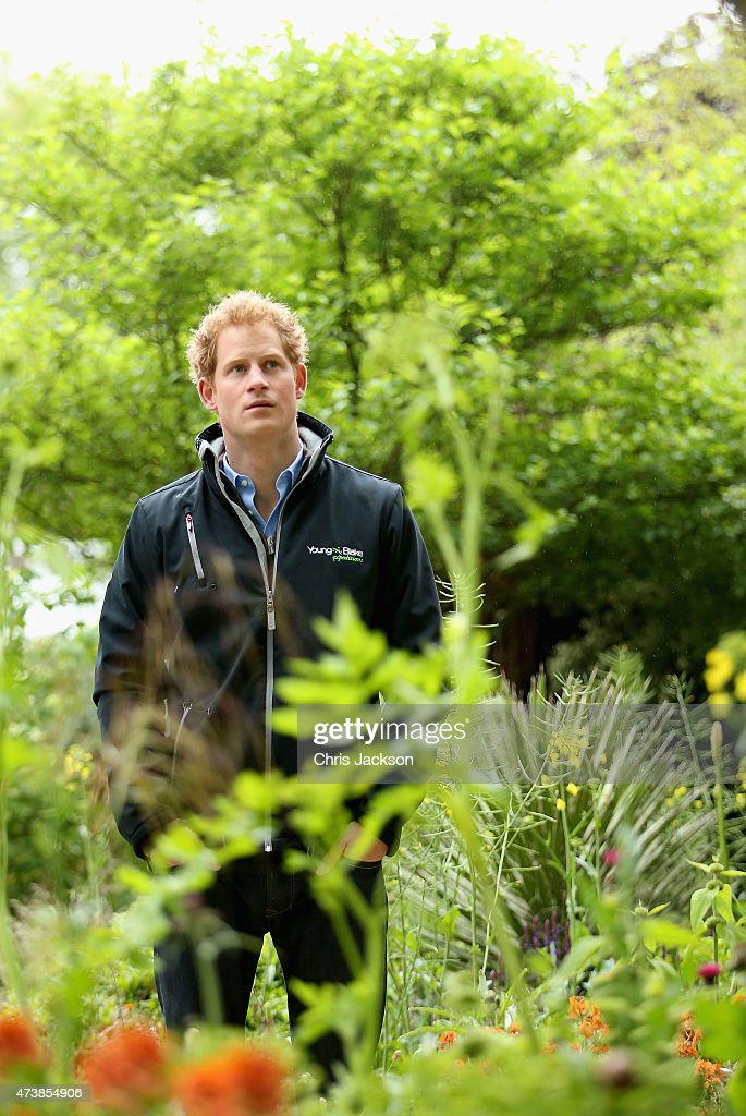 Prince Harry visits the Sentebale 'Hope In Vunerability' Garden during the annual Chelsea Flower show at Royal Hospital Chelsea on May 18, 2015 in London, England.The Sentebale - Hope In Vulnerability Garden at RHS Chelsea Flower Show was designed by Matt Keightley and is inspired by the Mamohato Children's Centre in Lesotho. The Children's Centre is due to open later this year in Lesotho and will provide support to children living wth HIV