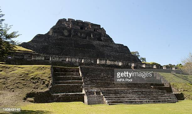 Prince Harry visits Xunantunich Mayan Temple on March 3 2012 in Benque Viejo del Carmen Belize The Prince is visiting Belize as part of a Diamond...