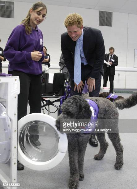 Prince Harry watches a dog using a washing machine during a visit to the charity Canine Partners Training Centre in Midhurst in Sussex