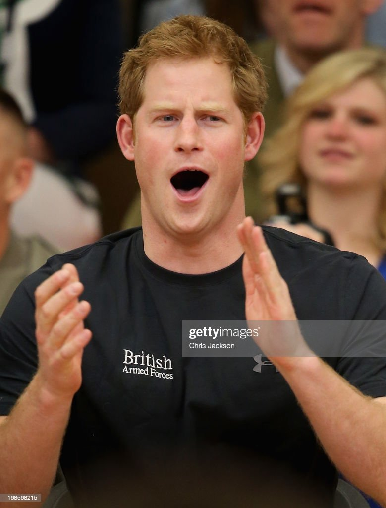 Prince Harry watches a seated vollyball exhibition match during the Warrior Games during the third day of his visit to the United States on May 11, 2013 in Colorado Springs, Colorado. HRH will be undertaking engagements on behalf of charities with which the Prince is closely associated on behalf also of HM Government, with a central theme of supporting injured service personnel from the UK and US forces.