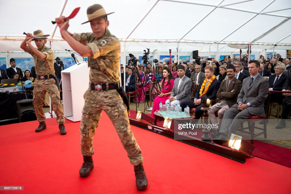 Prince Harry watches a traditional Khukuri dance as he attends a ceremony to celebrate the bicentenary of relations between the UK and Nepal at Embassy of Nepal on March 20, 2017 in London, England.