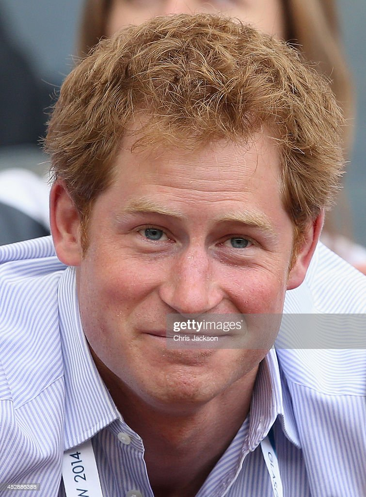<a gi-track='captionPersonalityLinkClicked' href=/galleries/search?phrase=Prince+Harry&family=editorial&specificpeople=178173 ng-click='$event.stopPropagation()'>Prince Harry</a> watches the athletics at Hampden Park as he attends day six of the Commonwealth Games on July 29, 2014 in Glasgow, Scotland.