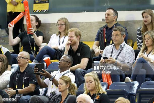Prince Harry watches the USA Team compete against Denmark in the Wheelchair Basketball Finals during the Invictus Games 2017 at Mattamy Athletic...