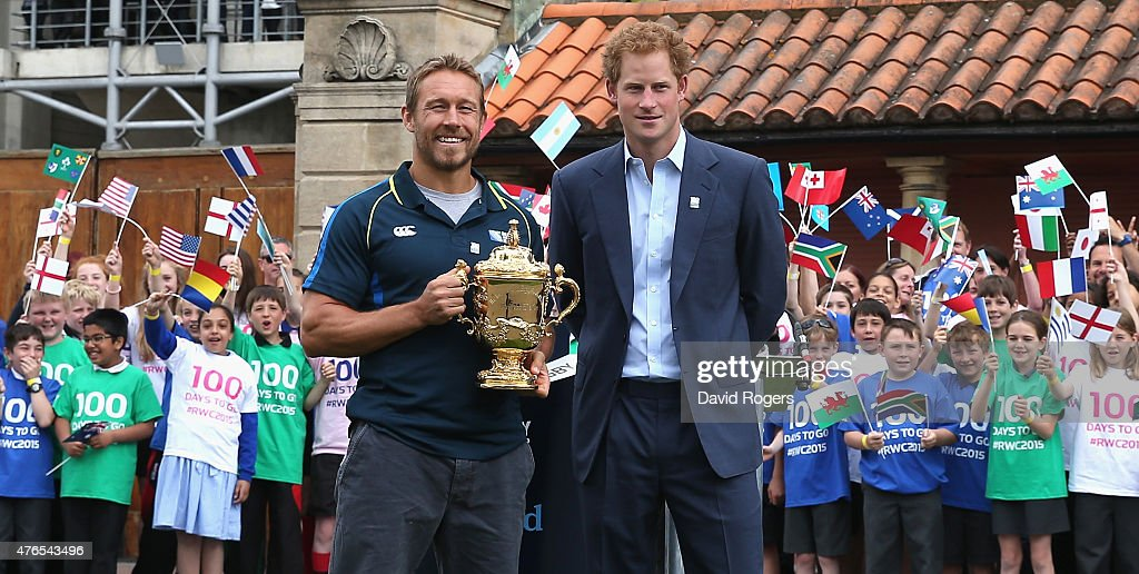 Prince Harry (R) with England World Cup winner Jonny Wilkinson pose with the Webb Ellis Trophy at the Launch of the Rugby World Cup Trophy Tour at Twickenham Stadium on June 10, 2015 in London, England.