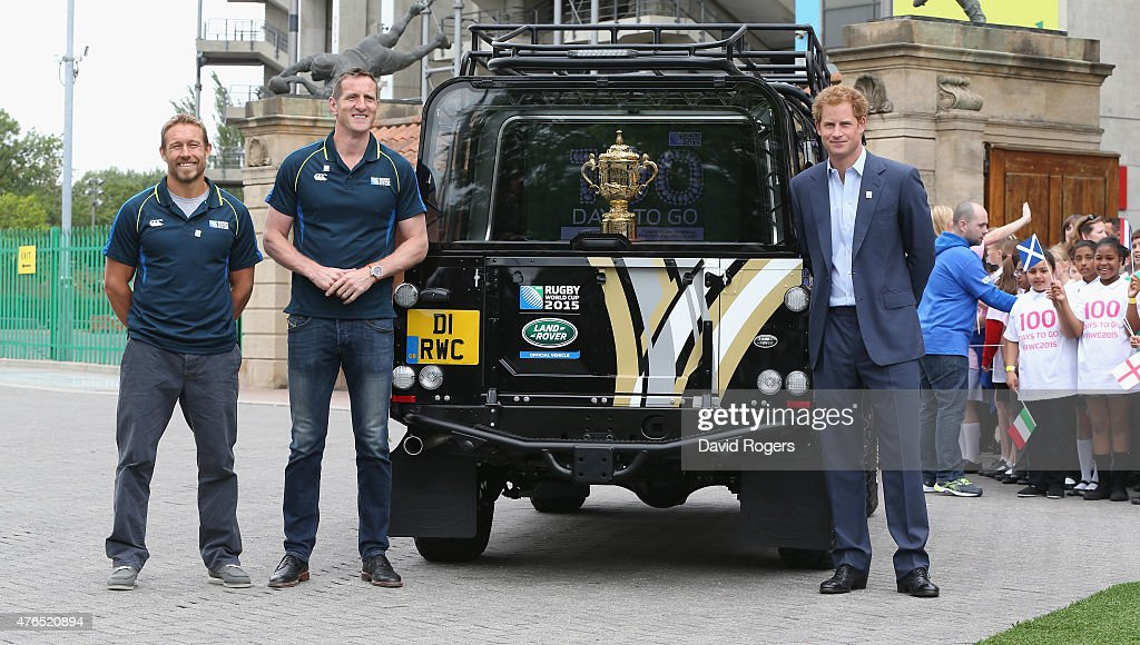 Prince Harry (R) with England World Cup winners Jonny Wilkinson (L) and Will Greenwood pose with the Webb Ellis Trophy at the Launch of the Rugby World Cup Trophy Tour at Twickenham Stadium on June 10, 2015 in London, England.