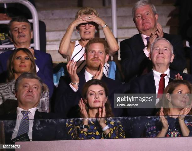 Prince Harry with First lady Melania Trump and Sophie Grégoire Trudeau attend the opening ceremony of the 2017 Invictus Games at Air Canada Centre on...