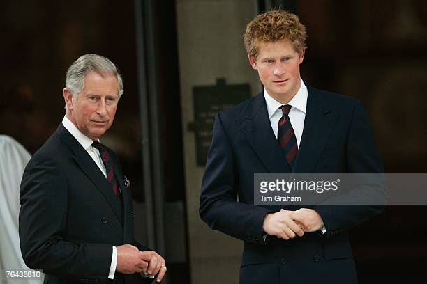 Prince Harry with his father Prince Charles Prince of Wales at the 10th Anniversary Memorial Service For Diana Princess of Wales at Guards Chapel at...