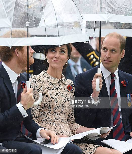 Prince Harry with Prince William Duke of Cambridge and Catherine Duchess of Cambridge attend The Commemoration of the Centenary of The Battle of the...