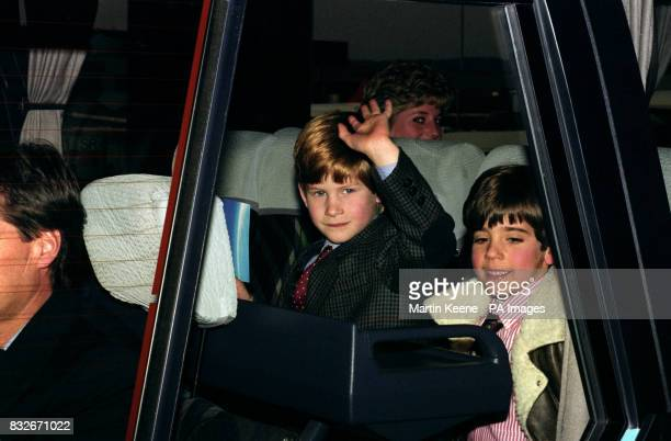 Prince Harry with school friend George Grumber aboard a coach at Zurich Airport en route for a skiing holiday in Austria with his mother the Princess...