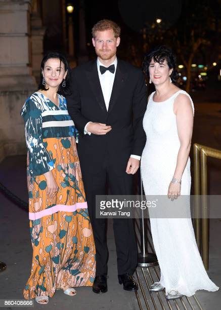 Prince Harry with Sonia Gardner President of 100 Women in Finance and Amanda Pullinger Director of 100 Women in Finance arrive for the 100 Women in...