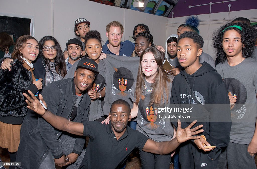 Prince Harry with teenagers who performed sections of a play for him during his visit the Community Recording Studio at Russell Youth Centre on October 26, 2016 in Nottingham, United Kingdom. The Royal Foundation is working with Epic Partners and the Community Recording Studio (CRS) to deliver Full Effect: a project to improve the opportunities for young people and reduce youth violence in St. Ann's, Nottingham.