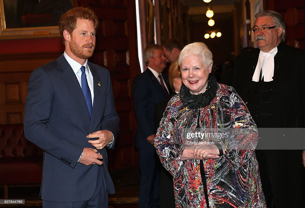 Prince Harry with the Honourable Elizabeth Dowdeswell at a reception for supporters and organisers of the Invictus Games Toronto at the Office of the Lieutenant Governor on May 2, 2016 in Toronto, Canada. Prince Harry is in Toronto for the Launch of the 2017 Toronto Invictus Games before heading down to Miami and the 2016 Invictus Games in Orlando.