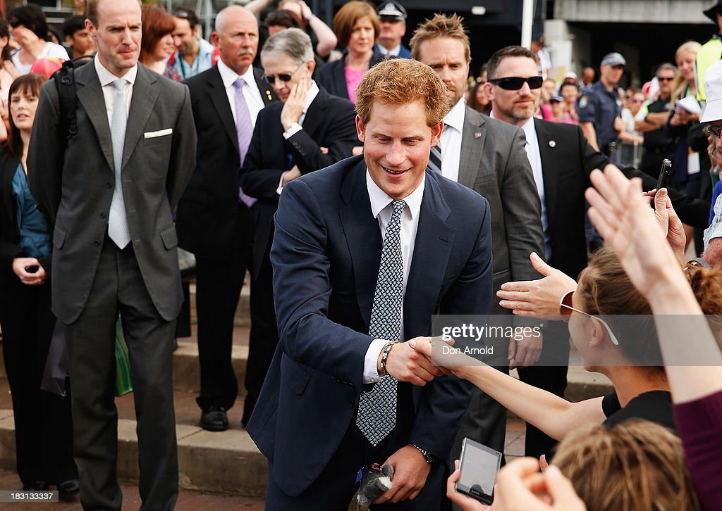 <a gi-track='captionPersonalityLinkClicked' href=/galleries/search?phrase=Prince+Harry&family=editorial&specificpeople=178173 ng-click='$event.stopPropagation()'>Prince Harry</a>greets members of the public at Campbell Cove on October 5, 2013 in Sydney, Australia. Over 50 ships participate in the International Fleet Review at Sydney Harbour to commemorate the 100 year anniversary of the Royal Australian Navy's fleet arriving into Sydney. <a gi-track='captionPersonalityLinkClicked' href=/galleries/search?phrase=Prince+Harry&family=editorial&specificpeople=178173 ng-click='$event.stopPropagation()'>Prince Harry</a> is an official guest of the Australian Government and will take part in the fleet review during his two-day visit to Australia.