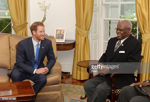 Prince Harrymeets with with the Governor General His Excellency Sir Elliott Belgrave on November 29 2016 on the Caribbean island of Barbados