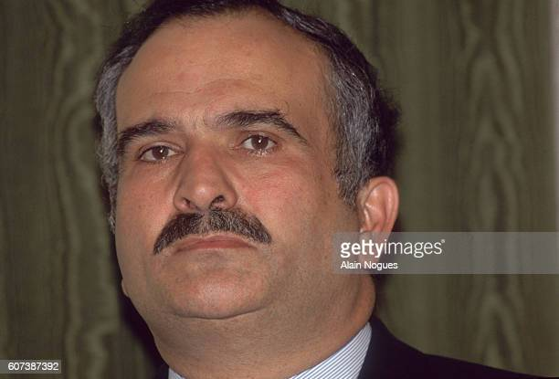 Prince Hassan of Jordan attends a press conference given by his brother King Hussein Jordan supported Iraq during the Persian Gulf War who's 1990...