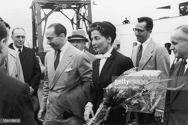 Prince HENRI of Orleans Count of Paris and his wife ISABELLE of OrleansBragance Countess of Paris arriving at Calais in 1950