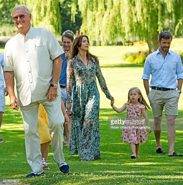 Prince Henrik and family attend the annual summer photo call for the Royal Danish family at Grasten Castle on July 24 2014 in Grasten Denmark