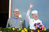 Prince Henrik and Queen Margrethe II of Denmark attend a lunch reception to mark the forthcoming 75th Birthday of the Danish Queen at Aarhus City...