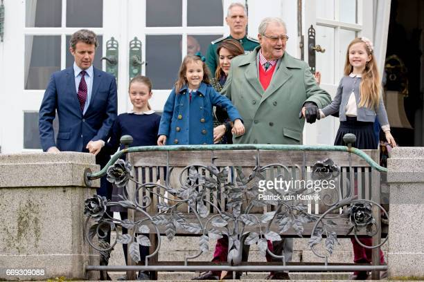 Prince Henrik Crown Prince Frederik Crown Princess Mary Princess Isabella and Princess Josephine of Denmark attend the 77th birthday celebrations of...