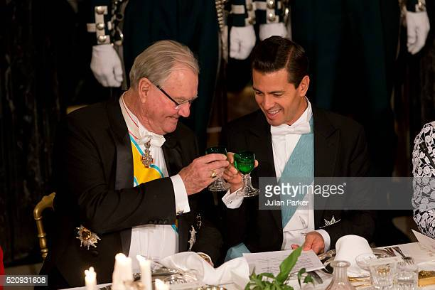 Prince Henrik of Denmark and President Enrique Pena Nieto attend a State Banquet at Fredensborg Palace on the first day of a State visit of the...