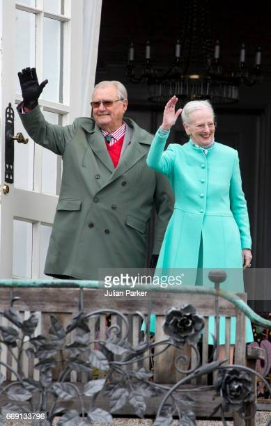Prince Henrik of Denmark and Queen Margrethe of Denmark at Queen Margrethe's 77th Birthday Celebrations at Marselisborg Palace on April 16 2017 in...