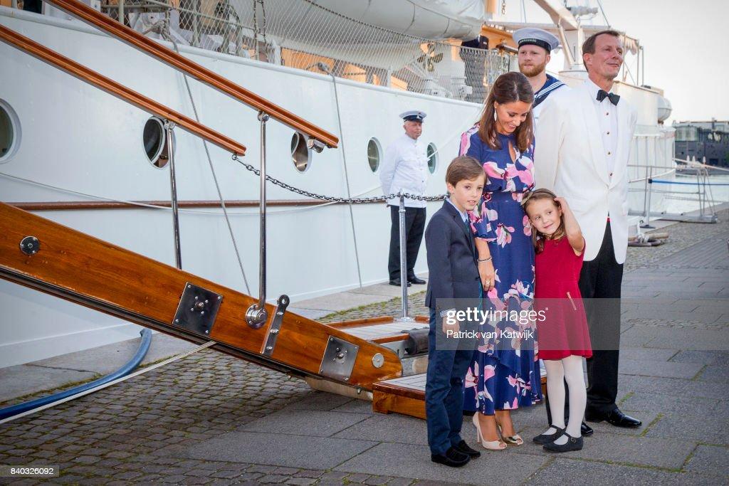 Prince Henrik of Denmark, Princess Marie of Denmark, Prince Joachim of Denmark and Princess Athena of Denmark attend the 18th birthday celebration of Prince Nikolai at royal ship Dannebrog on August 28, 2017 in Copenhagen, Denmark.
