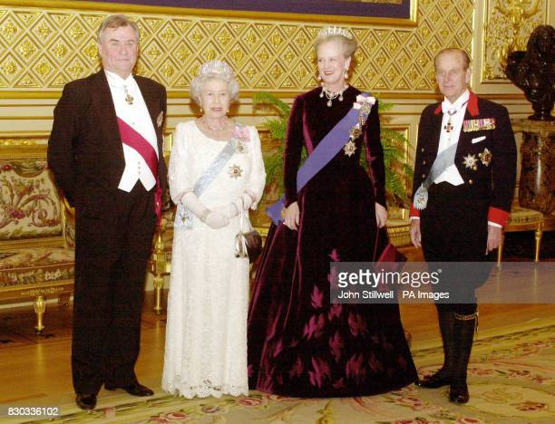 Prince Henrik of Denmark Queen Elizabeth II Queen Margrethe of Denmark and the Duke of Edinburgh before the state banquet at St George's Hall in...