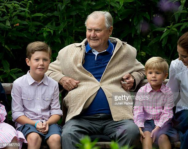 Prince Henrik of Denmark with grandchildren Prince Christian and Prince Vincent of Denmark attend the annual summer Photocall for The Danish Royal...