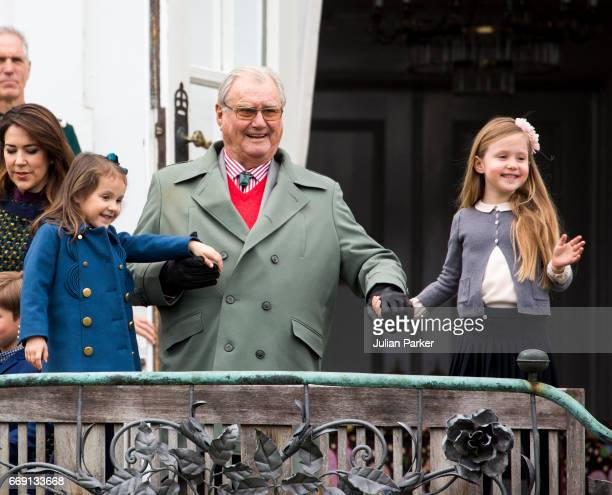 Prince Henrik of Denmark with his granddaughters Princess Athena and Princess Josephine of Denmark at Queen Margrethe of Denmark's 77th Birthday...