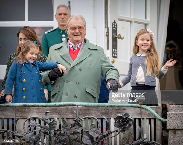 Prince Henrik Princess Athena and Princess Josephine of Denmark attend the 77th birthday celebrations of Danish Queen Margrethe at Marselisborg...