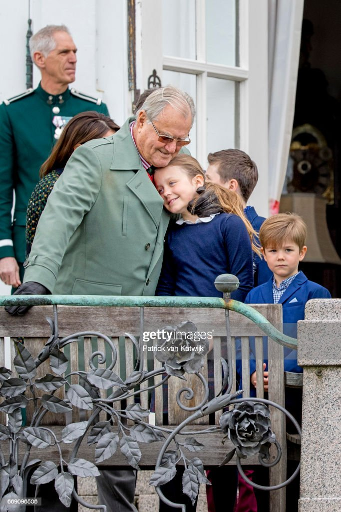 Prince Henrik, Princess Isabella and Prince Vincent of Denmark attend the 77th birthday celebrations of Danish Queen Margrethe at Marselisborg Palace on April 16, 2017 in Aarhus, Denmark.