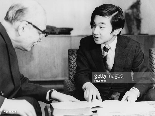 Prince Hiro aka Crown Prince Naruhito of Japan being lectured by Tomohide Gomi Honorary Professor of Tokyo University on the 'Manyoshu' poetry...