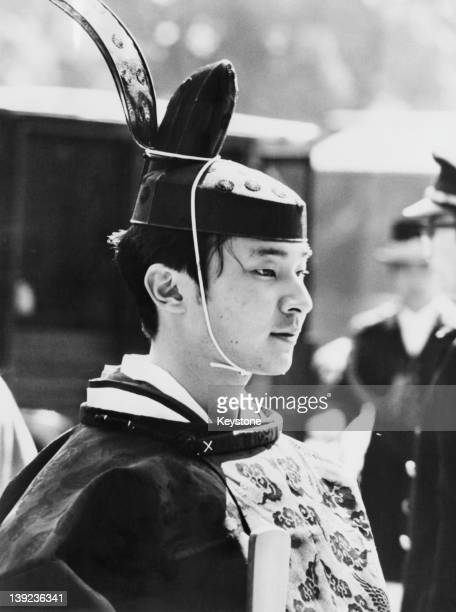 Prince Hiro aka Crown Prince Naruhito of Japan during his comingofage ceremony at the Imperial Palace in Tokyo 1980 He is wearing the coronet which...