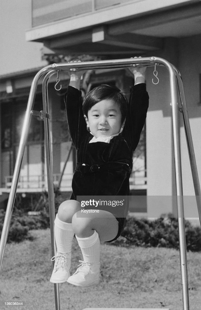 Prince Hiro, aka Crown Prince Naruhito of Japan, in the palace grounds the day before his 3rd birthday, 22nd February 1963.