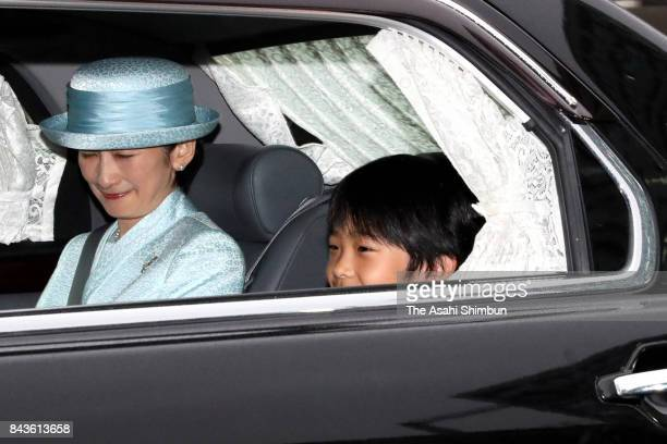 Prince Hisahito and his mother Princess Kiko of Akishino are seen on departure after meeting with Emperor Akihito and Empress Michiko on his 11th...