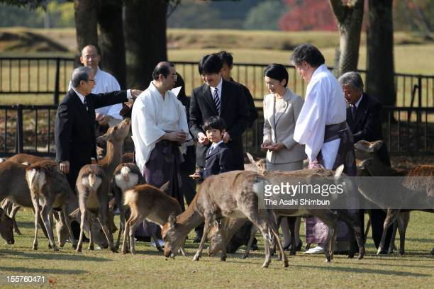 Prince Hisahito Prince Akishino and Princess Kiko are seen during the Shikayose heading deers by blowing horn at Tobihino Field of Kasuga Taisha...