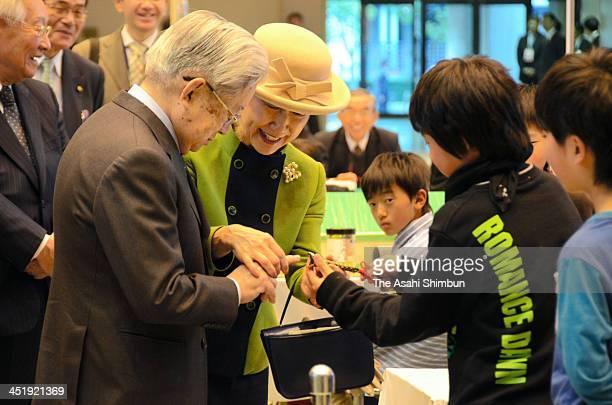 Prince Hitachi and Princess Hitachi visit achildren invention club exhibition at Shiga Prefecture Gymnasium on November 24 2013 in Otsu Shiga Japan