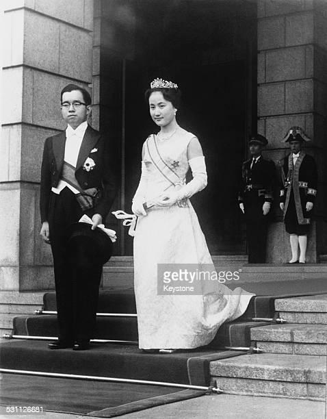 Prince Hitachi second son of Emperor Hirohito of Japan marries Hanako Tsugaru later Princess Hitachi at the Imperial Palace in Tokyo Japan 30th...