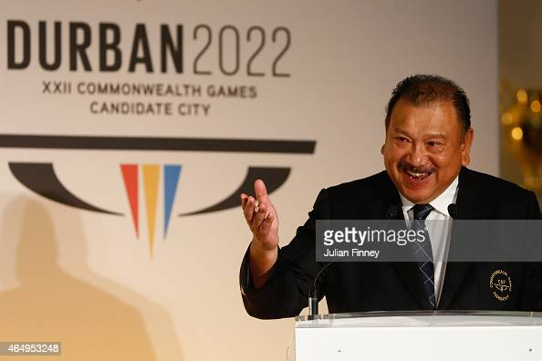 Prince Imran President the Commonwealth Games Federation talks during the formal bid from Durban South Africa to host the 2022 Commonwealth Games at...