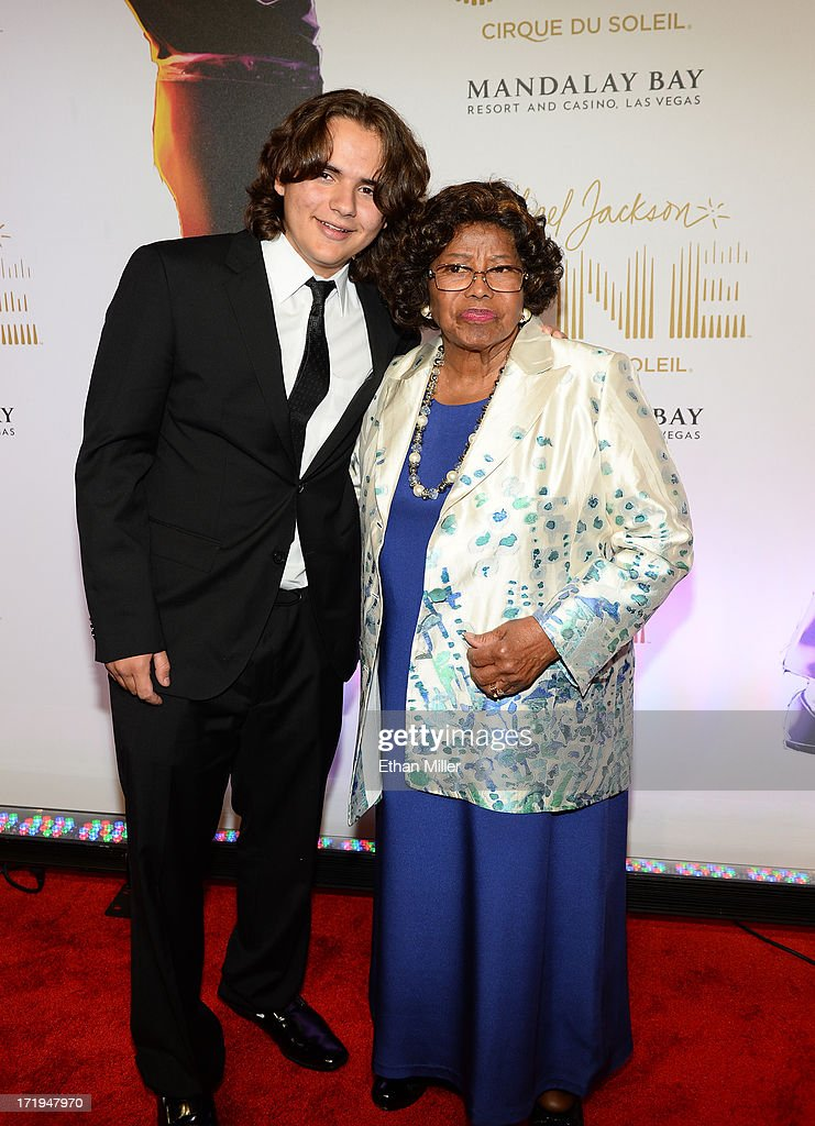 Prince Jackson and <a gi-track='captionPersonalityLinkClicked' href=/galleries/search?phrase=Katherine+Jackson+-+Jackson+Family&family=editorial&specificpeople=201779 ng-click='$event.stopPropagation()'>Katherine Jackson</a> arrive at the world premiere of 'Michael Jackson ONE by Cirque du Soleil' at THEhotel at Mandalay Bay on June 29, 2013 in Las Vegas, Nevada.
