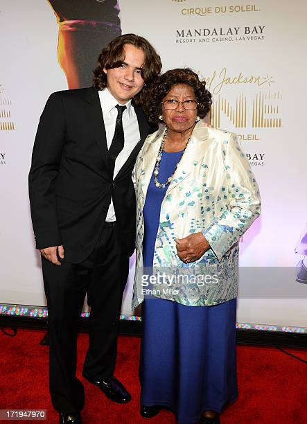 Prince Jackson and Katherine Jackson arrive at the world premiere of 'Michael Jackson ONE by Cirque du Soleil' at THEhotel at Mandalay Bay on June 29...