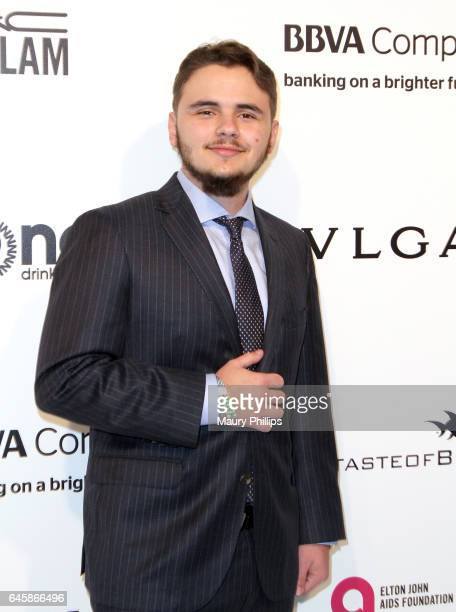 Prince Jackson attends the 25th annual Elton John AIDS Foundation's Oscar Viewing Party Arrivals at The City of West Hollywood Park on February 26...