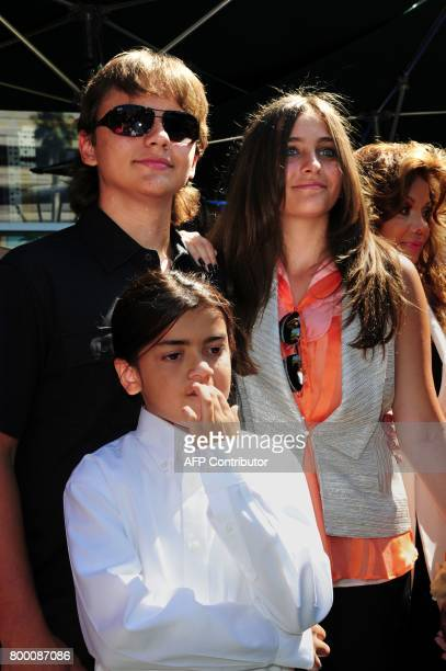 Prince Jackson Paris Jackson and Blanket Jackson attend a ceremony to honor their father and brother the late King of Pop Michael Jackson at...