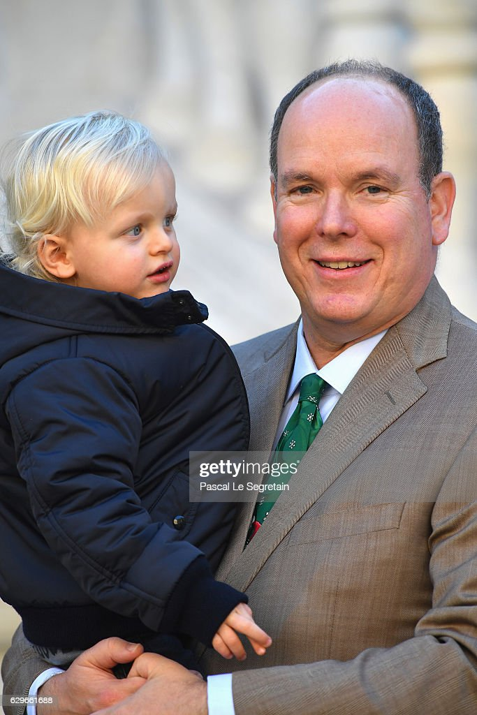 Prince Jacques of Monaco and father Prince Albert II of Monaco attend the annual Christmas gifts distribution at Monaco Palace on December 14, 2016 in Monaco, Monaco.