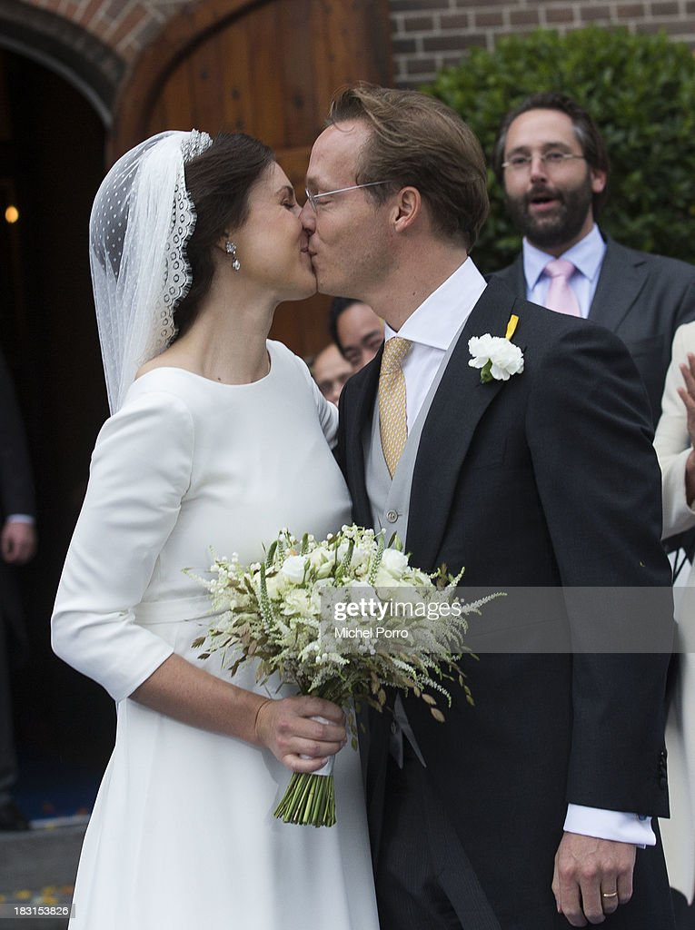 Prince Jaime de Bourbon Parme and Viktoria Cservenyak leave after the wedding ceremony at The Church Of Our Lady At Ascension on October 5, 2013 in Apeldoorn, Netherlands.