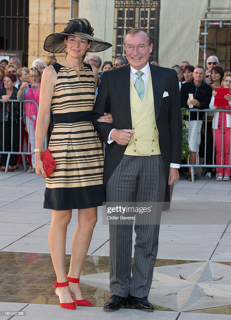 Prince Jean of Luxembourg and Countess Diane of Nassau attend the religious wedding of Prince Felix of Luxembourg and Claire Lademacher at Basilique Sainte Marie-Madeleine on September 21, 2013 in Saint-Maximin-La-Sainte-Baume, France.
