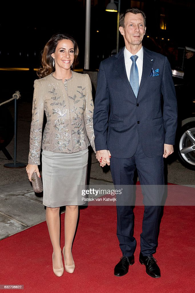 Prince Joachim and Princess Marie arrive at the Nordatlantens Brygge for the return concert offered by the president of Iceland to the Danish Queen on January 25, 2017 in Copenhagen, Denmark.