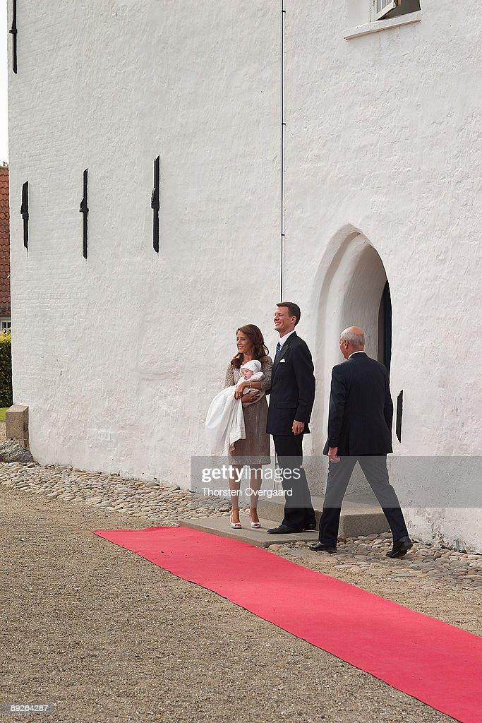 Prince Joachim and Princess Marie arrive for the Christening of Prince Hein Carl Joachim Alain of Denmark at Mogeltonder Church on July 26, 2009 in Mogeltonder, Denmark.