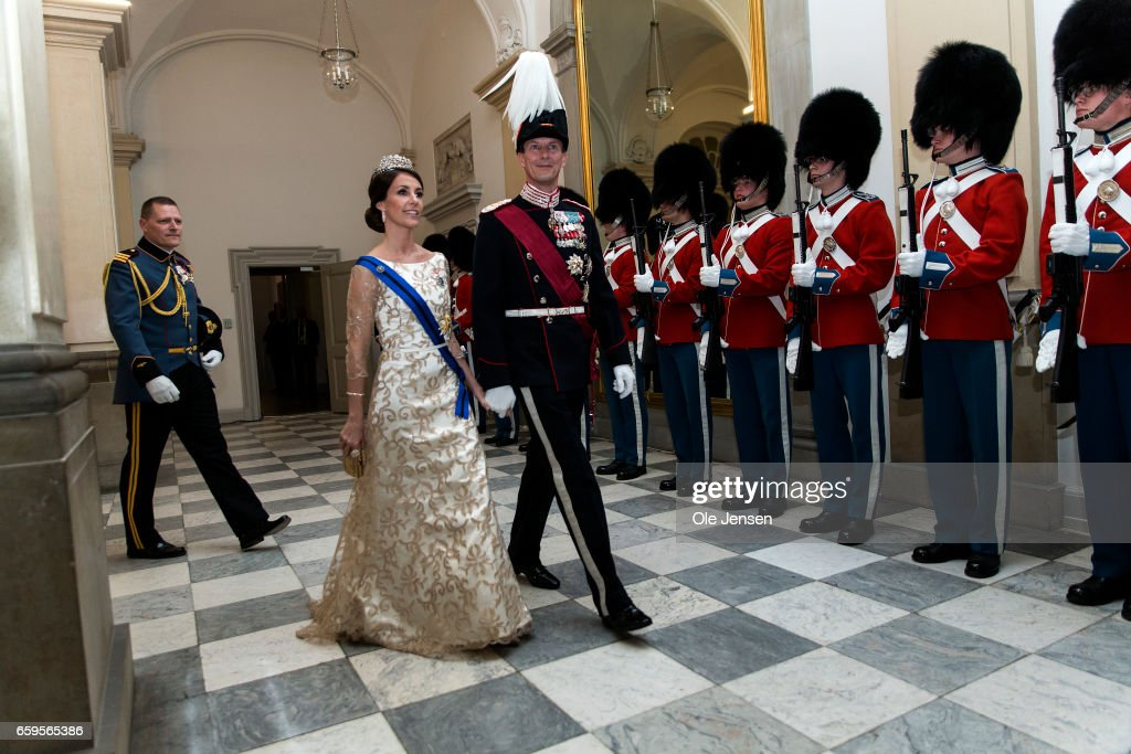 Prince Joachim and Princess Marie during arrival to the to the State Dinner on the occasion of the visiting Belgian King and Queen at Christiansborg on March 28, 2017 in Copenhagen, Denmark. The royal Belgian couple will be on a state visit from March 28 till March 30.